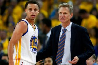 Stephen Curry i Steve Kerr / fot. wikimedia commons